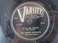 "The Varsity Orchestra It Is No Secret Roving Kind 1948 78 RPM 10"" Shellac"
