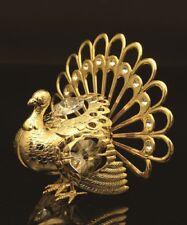 Swarovski Crystal Studded Golden Turkey Figurine Ornament 24K Real Gold Plated