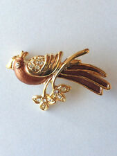 Clear Crystal Bronze Enamel Free Shipping Bird Brooch Lapel Pin Gold Plated