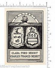 3568 Bookplate Howland Clara Ford Nesbit, Charles Francis artist Jane S. Elliot