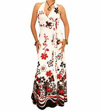 New Floral Border Print Mesh Maxi Dress - Halter Neck