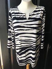 New Chico's Knit Kit Zebra Stripe Ink Navy Blue White Top 2 = L Large 12 14 NWT