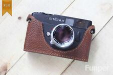 En cuir véritable Half Camera Case Sac Housse pour Konica Hexar RF marron foncé