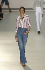 Chloé RARE COLLECTOR'S Chloe High Waisted Wide Leg Braided Blue Jeans 4 T38