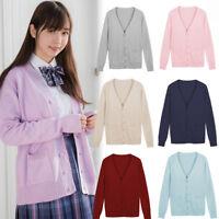 Women School Girl Uniform Knitted Sweater V-neck Coat Knitwear Cardigan Jacket