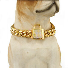 "24"" Strong Pet Dog Choker Collar Crystal Stainless Steel Clasp Miami Curb Chain"