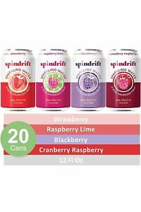 Spindrift Sparkling Water, 4 Flavor Berry Variety Pack, Made with Real Fruit, 12