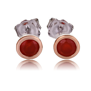 Clogau Silver Earrings Red Carnelian Stud Welsh 925 9ct Rose Gold July Birthston