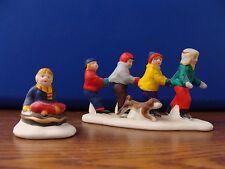 Lot of 2 LEMAX CHRISTMAS VILLAGE  4 BOYS SKATING 1 SLEDDING**SHIPS FREE!!