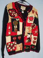 WOMENTS UGLY CHRISTMAS HOLIDAY SWEATER CARDIGAN TIARA SMALL