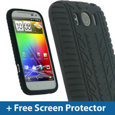 Black Silicone Tyre Skin for HTC Sensation XL Android Smartphone Case Cover