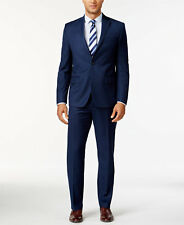 $825 MICHAEL KORS Mens Classic Fit Suit Blue Solid 2 PIECE JACKET PANTS 40R