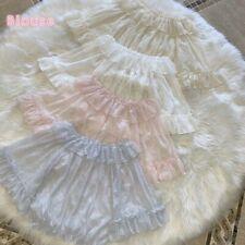 Lady Girls Lolita Blouse Shirt Tops Mesh Lace Chiffon Ruffle Sleeve Vintage Cute
