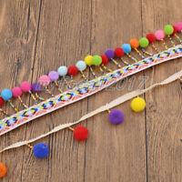 Pom Pom Trim Lace Tassel Ball Fringe Ribbon Fabric DIY Sewing Accessories 1 Yard