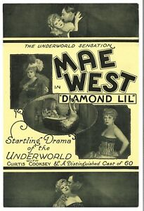 *DIAMOND LIL (1928) Vintg Orig Double-Sided Theatrical Herald ESTATE OF MAE WEST