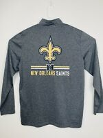 NFL Team Apparel New Orleans Saints Men's 1/4 Zip Polyester Pullover Gray Large