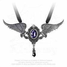 Alchemy Gothic Pewter Crystal My Soul From The Shadow Raven Wing Necklace P767