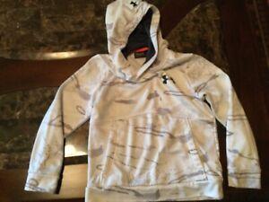 Under Armour sweatshirt hoodie, YS small (8/9) fleece polyester, wh/grey look nw