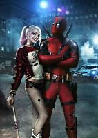 DEADPOOL & HARLEY QUINN Suicide Squad DC Wall Art Print Pic Photo Poster A3 A4