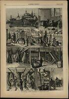 Manhattan Abattoir Slaughterhouse Import Cows Butcher 1877 wood engraved print