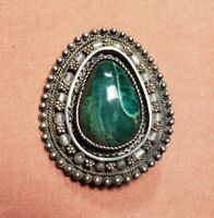 Vintage Green Turquoise Pendant Brooch Pin Sterling Silver 17g