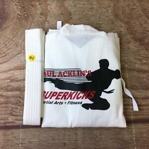 Paul Acklin's Superkicks Unisex Size 00 White Martial Arts Taekwondo Uniform NWT