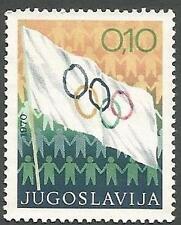 Yugoslavia Scott# RA38, Olympic Flag, 10p, Used but Uncancelled, 1970