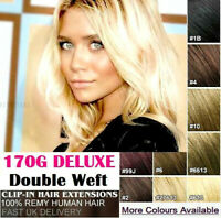 170G DELUXE Double Wefted Clipin Human Hair Extensions Remy Real Weave Clip In