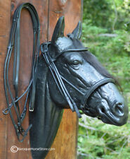 Rolled Black Dressage Double Bridle U brow matching reins Size:Full / Horse New