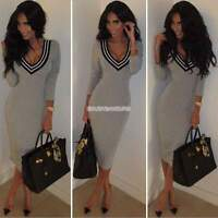 Sexy Ladies BodyCon Bandage V Neck Knit Pencil Dress Long Tops Sweater Plus Size