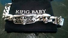 "$1895 King Baby Studio Relic Skull ID Bracelet .925 Sterling Silver 8.5"""