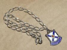 """Vintage Sterling Silver Enamel Nova Scotia Travel Charm & 7.5"""" Link Bracelet"""