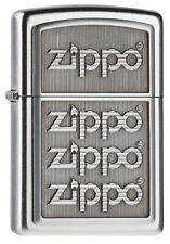 ZIPPO Feuerzeug 4 ZIPPO LOGOS m. Emblem Satin Chrome Logo NEU OVP