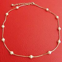 COLLIER perles nacrées blanches chaine dorée classique mariage soirée ras de cou