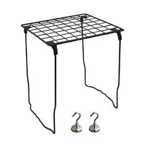 Stackable School Locker Shelf Extra Tall PLUS 2 Heavy Duty Magnetic Hooks -Black