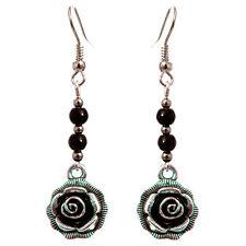 Boucles D'oreilles femme Pendantes argentées fleurs Argent Tibétain perles noire