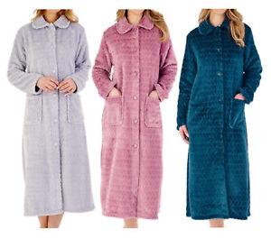 Slenderella Ladies Chevron Dressing Gown Button Up Soft Fleece Housecoat Robe