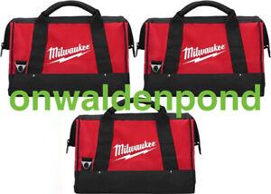 THREE (3) GENUINE MILWAUKEE MEDIUM CONTRACTOR TOOL WORK BAGS SET LOT NEW