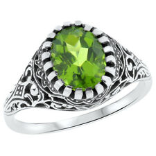 GENUINE PERIDOT ANTIQUE DESIGN 925 STERLING SILVER FILIGREE RING SIZE 6.75,#710