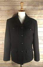 Casual Corner Women's Jacket Virgin Wool Button Down Long Sleeve Black Size 12