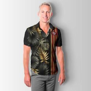 San Francisco 49ers Men's Hawaiian Shirts Short Sleeve Collared Button-Down Tops