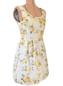 womens dress 10 yellow white rose cotton fit & flare short small medium retro