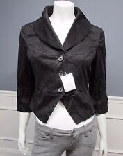 VICTORIA'S SECRET LONDON JEAN black crop jacket blazer size 10 NWOT SISLOU U6