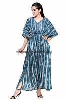 Abstract Printed Fabric Long Indian Tunic Maxi Kaftan Summer Beach Dress Kimono