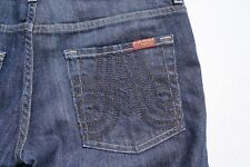 7 For All Mankind FAM Embellished A Pocket Dark Wash Jeans. Women's Size 28, EUC