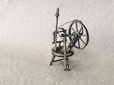 Antique Dutch Silver Miniature Spinning Wheel Doll House Furniture