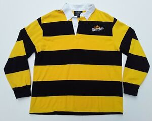 SNAPPLE ALL NATURAL ICE TEA COTTON STRIPED LOGO RUGBY SHIRT MEN L YELLOW WOW VTG