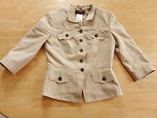 Lujo Escada 100% Seiden Designer blusas chaqueta blazer talla 36 beige