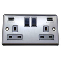 Brushed Chrome Raised Edge 13A Plug Sockets Dimmers and Light Switches