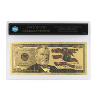 50 Dollars 24k Gold Banknote with Protect Case for Collection Holiday Gift